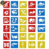 SUBANG 30 Pcs Painting Stencil Plastic Animal Drawing Spraying Templates for Kids Crafts, Five Different Patterns of Painting Templates,Washable Template for School Projects