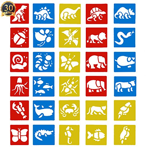 SUBANG 30 Pcs Painting Stencil Plastic Animal Drawing Spraying Templates for Kids Crafts, Five Different Patterns of Painting Templates,Washable Template for School Projects (Paintings Animals)