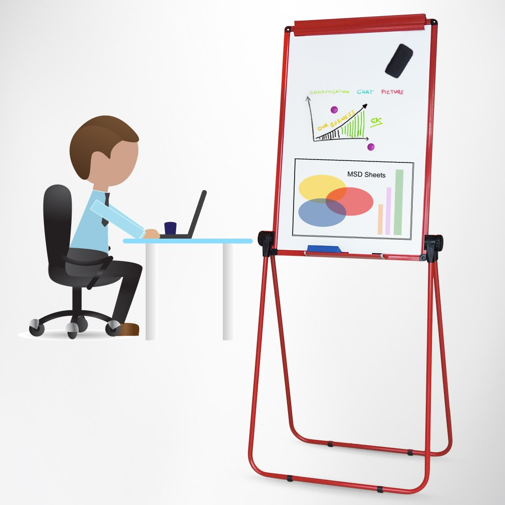 XIWODE MagneticEasel-style Dry Erase Board, Flip Chart Red U-StandWhiteboard, 36 x 24 Inch,Aluminum Framed, with Metal Clipsand Eraser, Foldable WhiteBoard for School, Home, Office by XIWODE (Image #5)