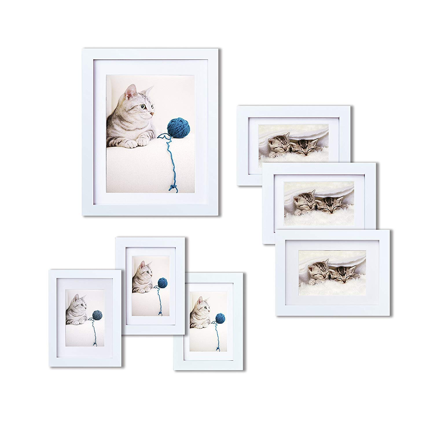 INNOCHEER Picture Frame Set of 7: Solid Wood, Three 4x6 Inches - Three 5x7 Inches - One 8x10 Inches by INNOCHEER