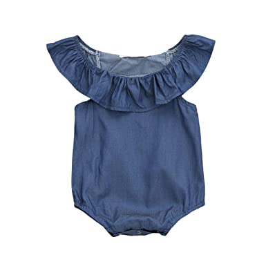 fe4b20083dff Amazon.com  Fartido Romper Baby Girl Sleeveless Ruched Denim ...