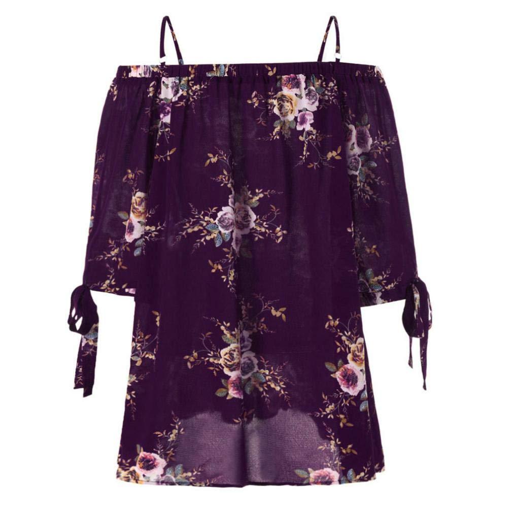 Bestow Estampado de Flores un Hombro Superior Moda para Mujer mš¢s el Tama?o Floral Blusa de Hombro FRšªo Casual Tops Camis: Amazon.es: Ropa y accesorios