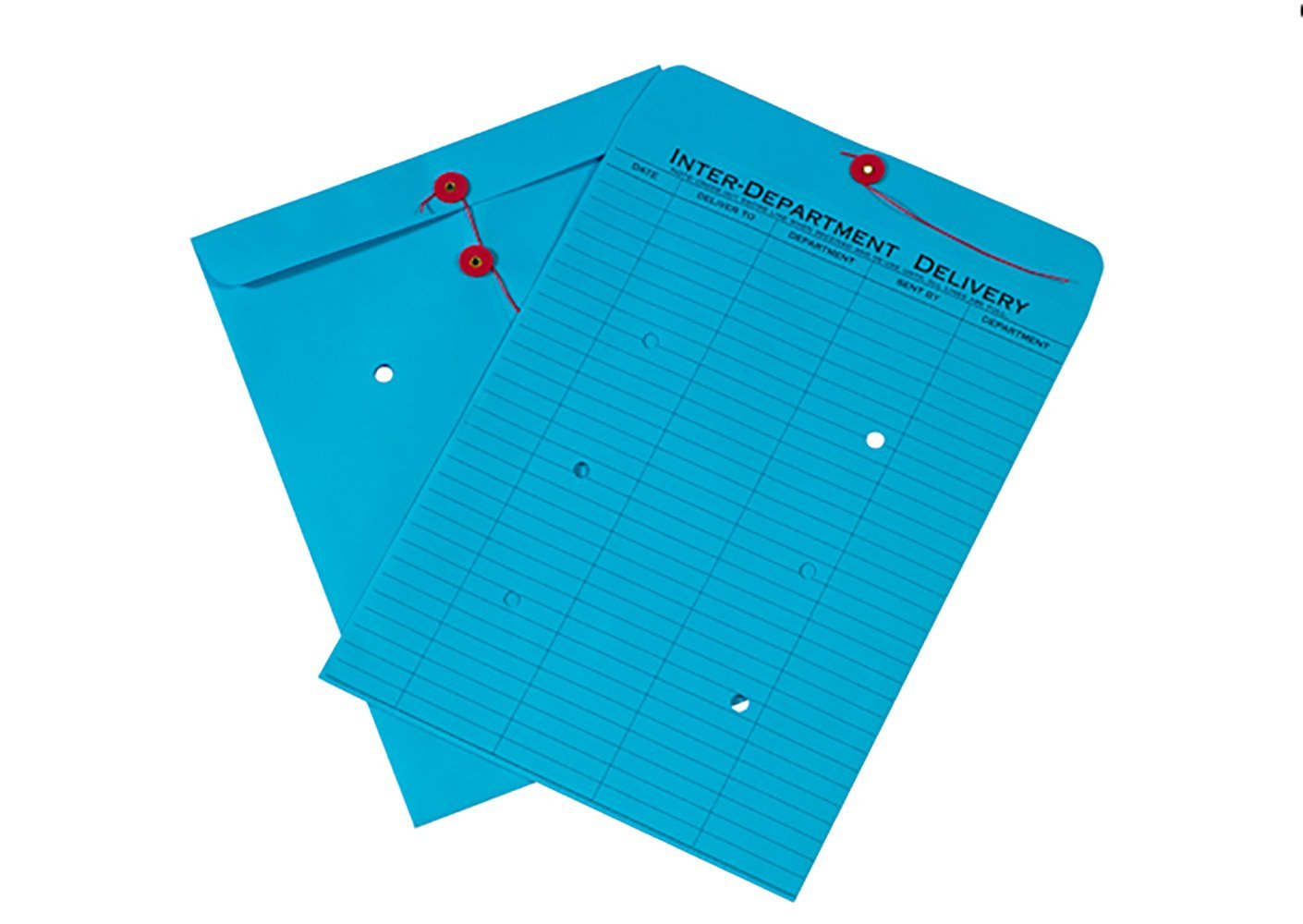 RetailSource E131001BI100 Inter-Department Envelopes, 13'' x 10'' x 1'', Blue (Pack of 100)