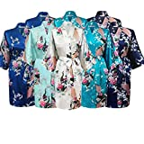 Gifts Are Blue Floral Bridal Party Bride & Bridesmaid Robe Sets, Sizes 2 to 20 (Set of 8)