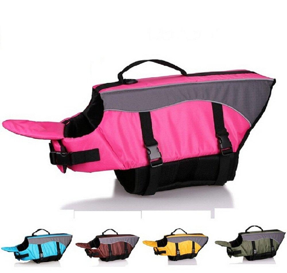 Pink M Pink M DiscoverMe8 Dog Lifejackets Dog Lifesaver Vest Pet Reflective Life Preserver (M, Pink)