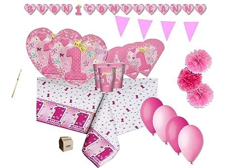 Irpot Kit N46 Coordinato Addobbi Compleanno 1 Anno Cuore Rosa Primo Compleanno