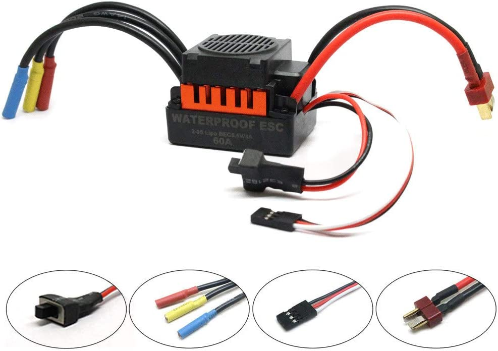 B07T27T5PS Hongxin WaterproofB3650 4300KV Brushless Motor+60A ESC + LED Program Card Combo for 1/10 RC Car Truck 61YgBrT2MDL