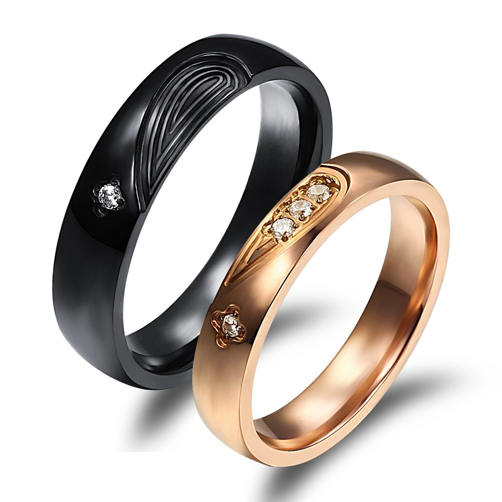 SAINTHERO Mens Forever Love Promise Band Ring Classic 6MM 316L Stainless Steel Hearts Couples Rings for His Mate Finish Comfort It Size 10