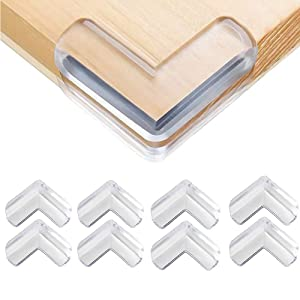 Safety Corner Protectors Guards, 8 pcs Baby Proofing Safety Corner Clear Furniture Table Corner Protection, Kids Soft Table Corner Protectors for Child for Furniture Against Sharp Corners
