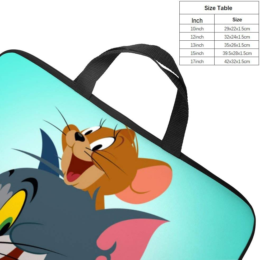 Funny Tom and Jerry 10-13 13-17 Neoprene Laptop Sleeve Bag Carrying,Case Premium Laptop Briefcase Fits Up to 17 Inch Water-Repellent|for Travel//Business//School//Men//Women