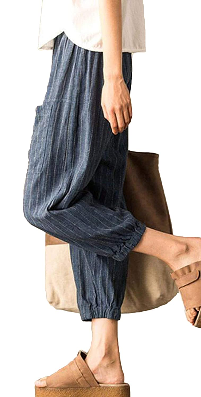 Rolanscia Linenhose Damen Freizeithose Sommerhosen Stoffhose Bundfaltenhose Anzughose Leichte Streifen