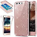 Huawei P10 Case,ikasus [Full-Body 360 Coverage Protective] Crystal Clear 2in1 Sparkly Shiny Glitter Bling Front Back Full Coverage Soft Clear TPU Silicone Rubber Case for Huawei P10,Rose Gold
