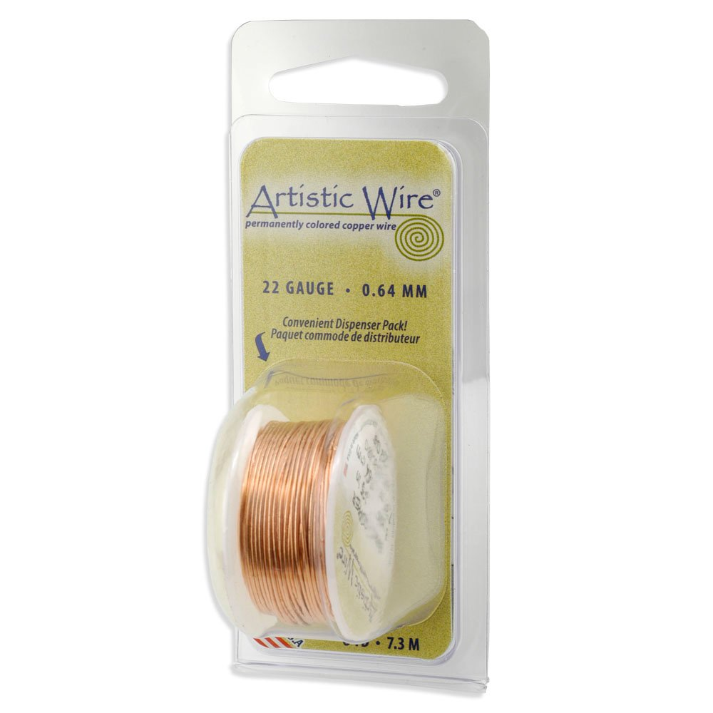 Artistic Wire Colored Wire (22 Gauge) 8 Yards - in your choice of colors 22 Gauge 8 Yards/Pkg Natural Non-Tarnish Brass Beadalon AWD-22-NTB-08YD