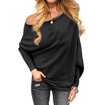 e2f0b2f85bc VOIANLIMO Women s Off Shoulder Knit Jumper Long Sleeve Pullover Baggy Solid Sweater  Black S