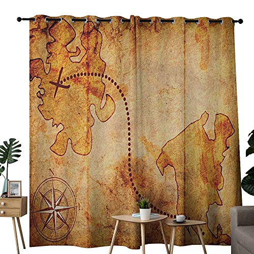 (NUOMANAN Pattern Curtains Compass,Bohemian Style Treasure Hunt Map with Small Compass Paint on It Manuscript Atlas Finding, Tan,Living Room and Bedroom Multicolor Printed Curtain Sets 120