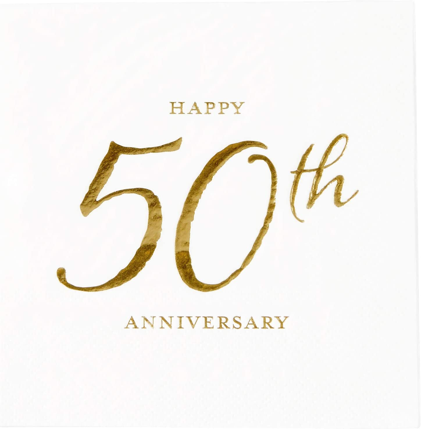 X&O Paper Goods Gold Foil ''Happy 50th Anniversary'' Paper Beverage Napkins, 20 ct., 5'' x 5''