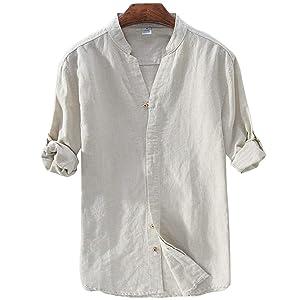 メンズ シャツ 柔らかい 無地 綿麻リネン スリムフィット 綿麻シャツ 長袖 半袖 春 夏Khaki 3XL