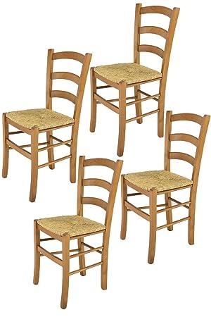 Tommychairs sillas de Design - Set 4 sillas Modelo Venice para Cocina, Comedor, Bar y Restaurante, con Estructura en Madera Color Roble y Asiento en Paja: ...