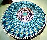 Ekavya Bohemian Pouf Ottoman Mandala Footstool Round Floor Pillow Ottoman Living Room Indian pouf Cover Throw 24'' Handicraft-Palace