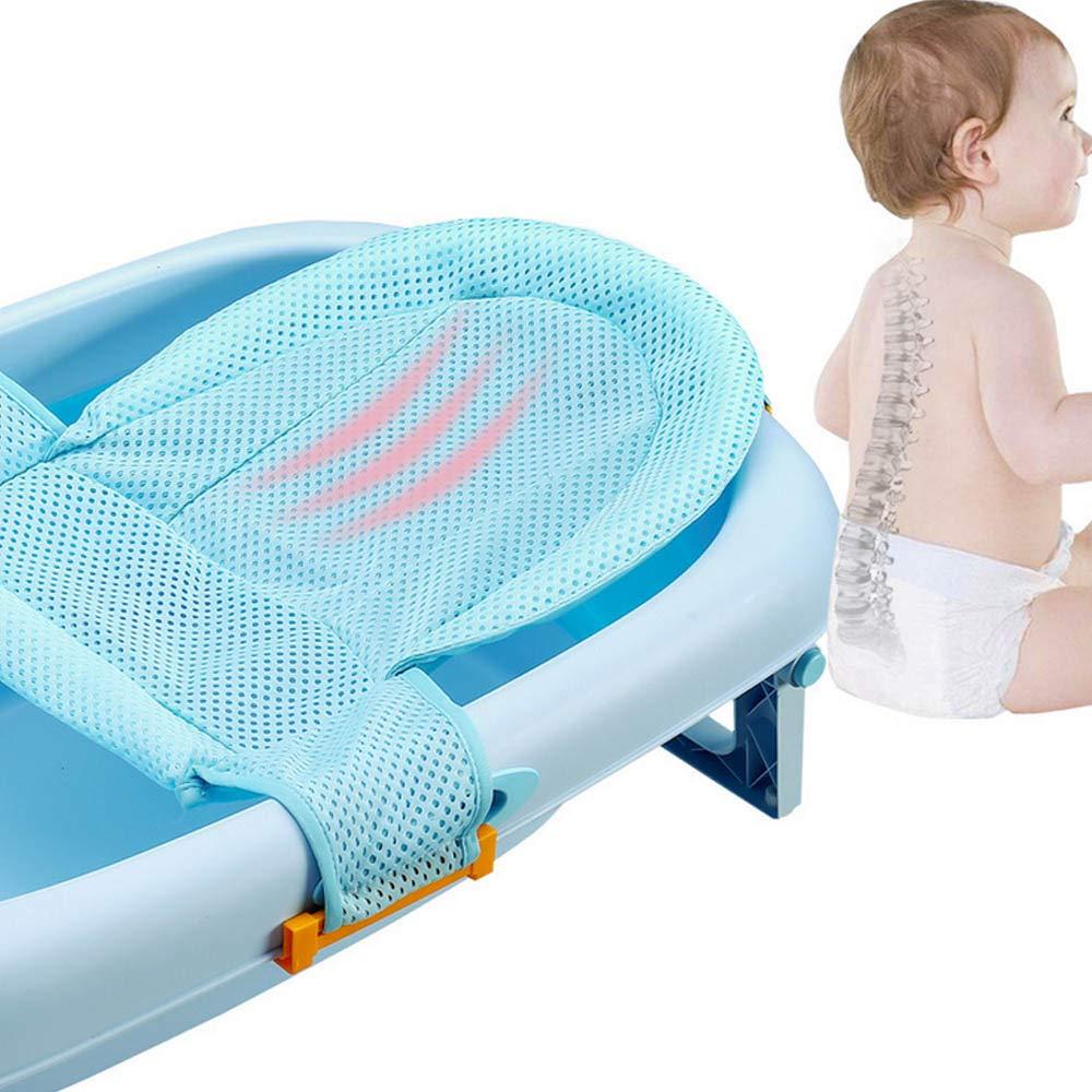 Baby Bathtub Net 4-Buckle Adjustable High Quality Comfortable Non-Slip T-Shape Safety Bath Tub Bathtub Support Seat Net Sling Hammock for 0-12 Months Newborn Baby Toddlers Blue
