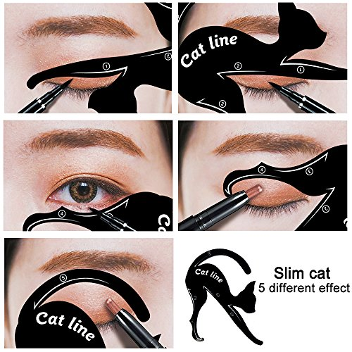 TailaiMei 12 Pcs Cat Eyeliner Stencils, Matte PVC Material Smoky Eyeshadow Applicators Template Plate, Cat Shape Eye liner & Eye Shadow Guide Template Tool