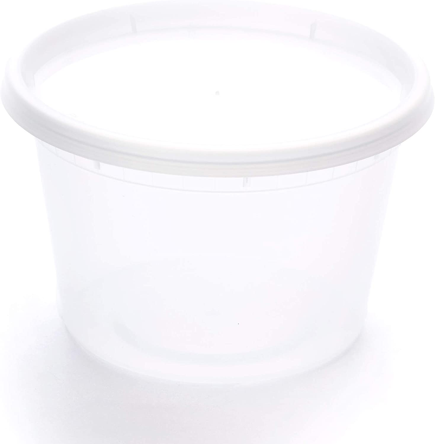 Scotty's 24 Pack of 16 oz Deli Plastic Food Storage Containers with Lids - 24 containers and 24 lids - Microwaveable - Restaurant Quality