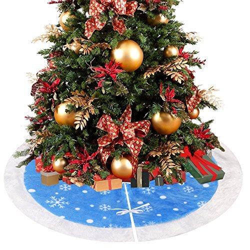 D-FantiX 36 Inch Christmas Tree Skirt Velvet Small Xmas Tree Skirt Christmas Decorations (Blue and White)