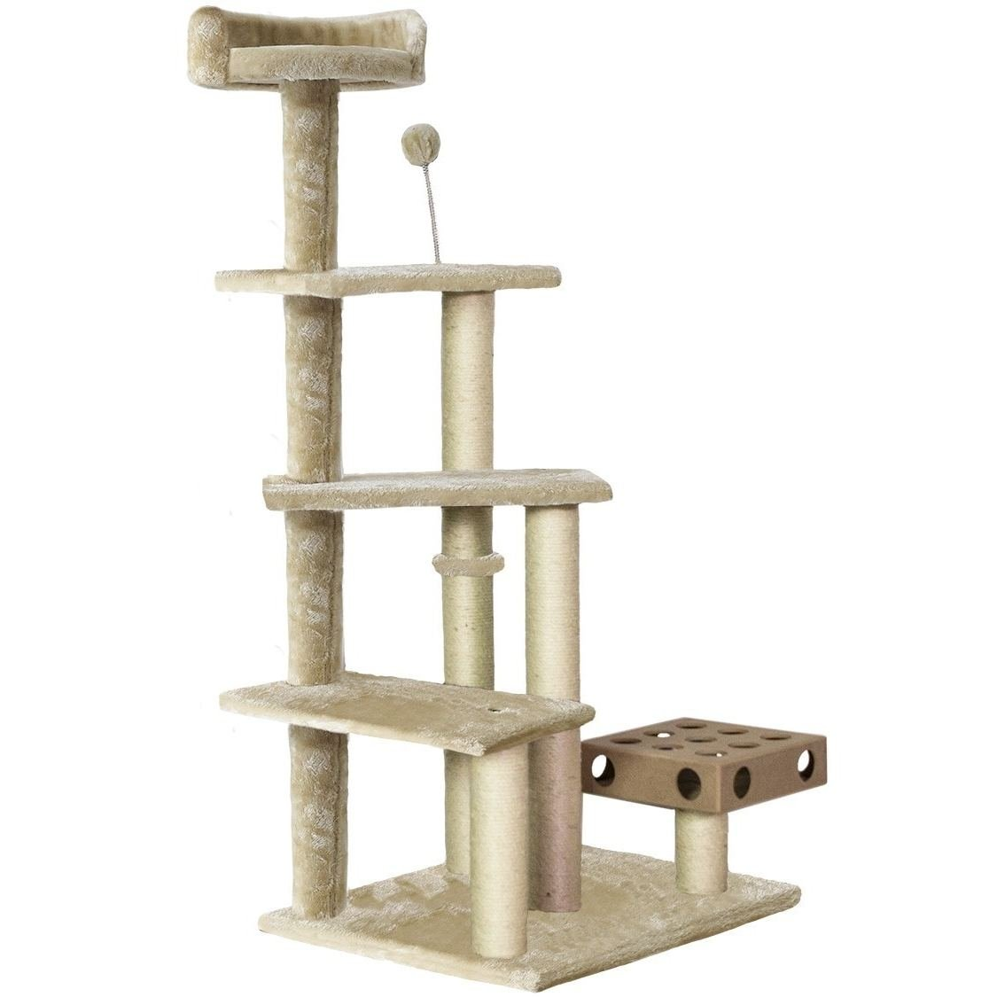 1 Piece Beige 49.5 High Comfort Scratcher Cat Condo, Light Brown Stairs Pet Tree House Kitty Perch Bed, Stable Playground Climbing Platforms Jingle Bell Ball Iq Toy Elevated Removable Cover Sisal Rope