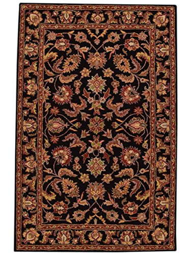 Rug Source New Agra All-Over Floral Hand-Tufted 8x11 Black Wool Oriental Area Rug (11
