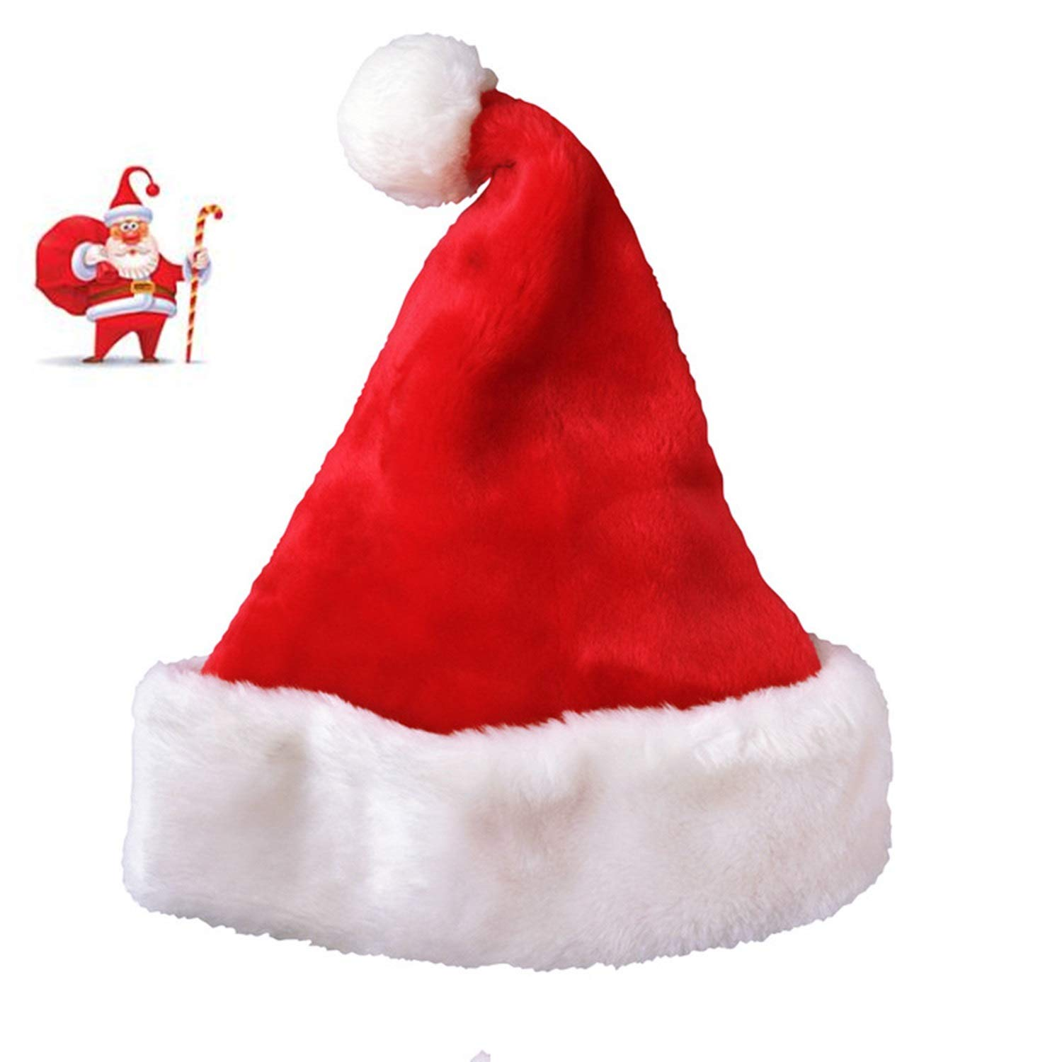 AOFITEE Deluxe Red Santa Hat Plush Trim Christmas Costume Accessory 1207-AF-113026-1 Pack