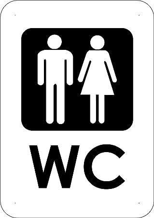 Oedim Señaletica Para Exteriores Baños WC Tamaño A5 (21x14,8cm) | Señaletica en material aluminio 3 mm resistente: Amazon.es: Hogar