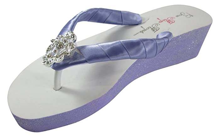 7f35d6f37838 Amazon.com  Design your own colors Painted Wedge Flip Flops - Lilac  Lavender Lace  Handmade