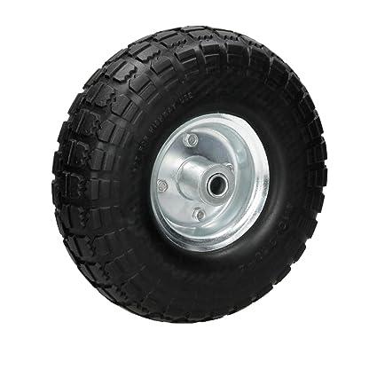 ECD Germany Rueda para carretilla PU color negro 4.10/3.50-4 Neumático de repuesto