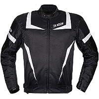 BI ESSE Chaqueta de moto Touring para hombre, deportiva, de tela, con protecciones CE, color negro y blanco, impermeable…