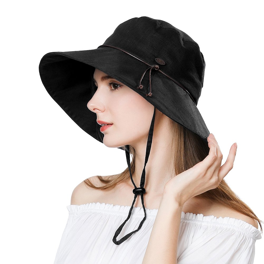 Womens Sun UV Protection Hats Cap Wide Brim Summer Garden Shade Hat Crushable Black SiggiHat