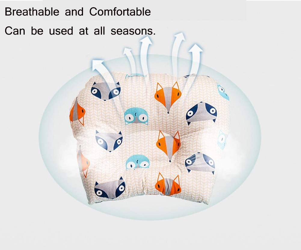 Bebe Algod/ón Suave Respirable de Dibujos Animados Almohadas para beb/és Coj/ín de Beb/é Miyanuby Almohada Bebe Prevenir Cabeza Plana Plagiocefalia Coj/ín de Posicionamiento Infantil