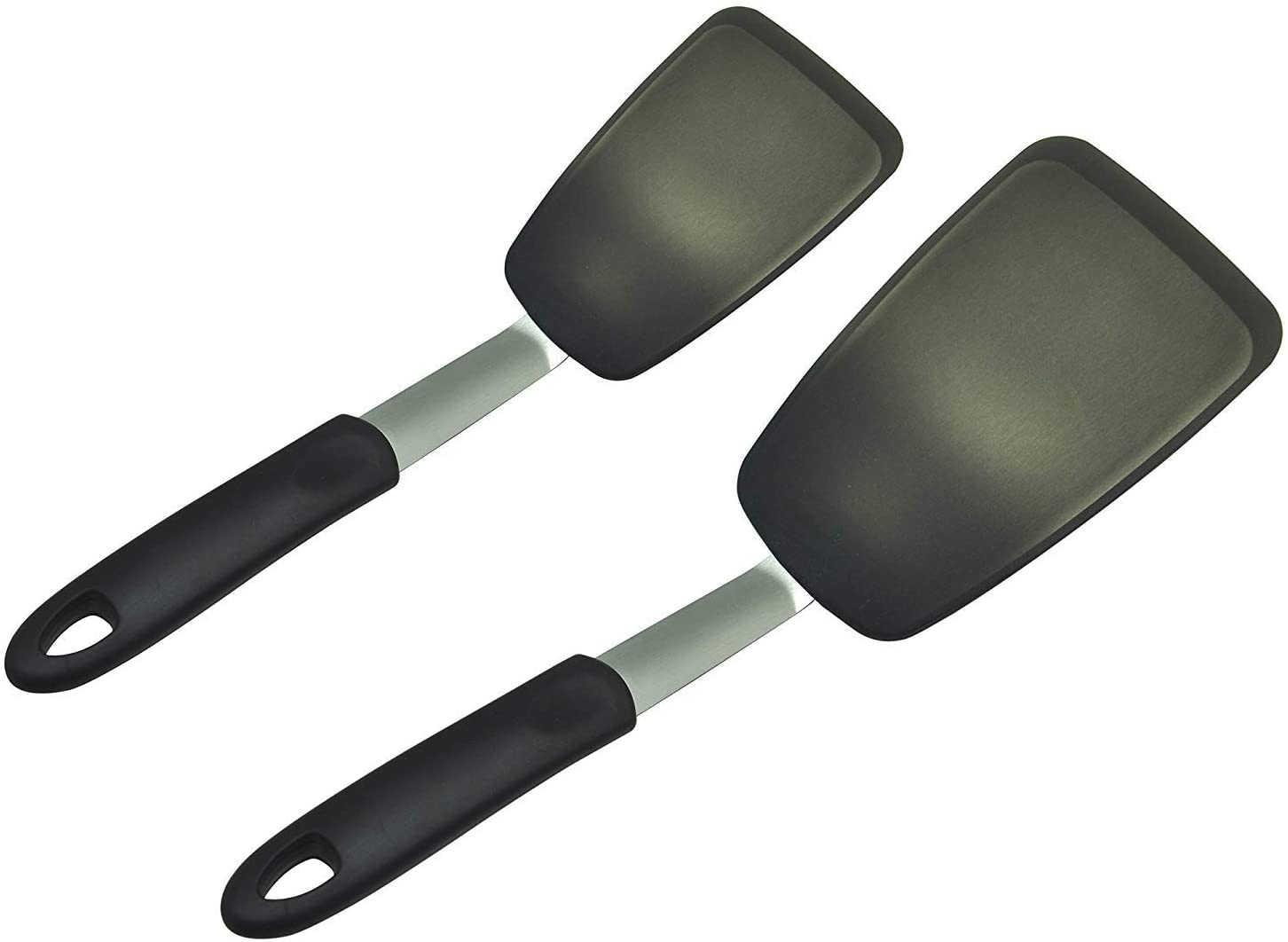 Unicook 2 Pack Flexible Silicone Spatula, Turner, 600F Heat Resistant, Ideal for Flipping Eggs, Burgers, Crepes and More, FDA Approved and LFGB Certified, Black