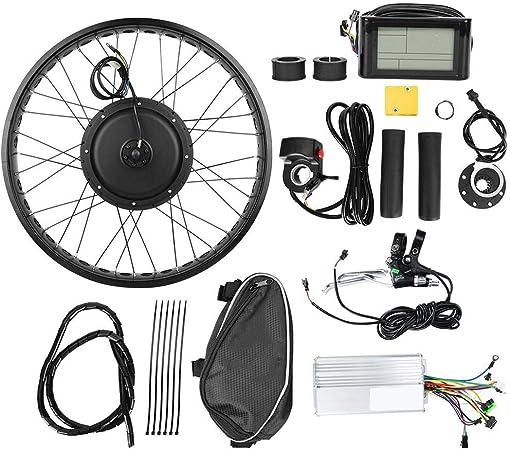 Kit de Conversión de Bicicleta Eléctrica, Rueda de 26x4 Pulgadas 48V 1000W Kits de Motor de Cubo Bicicleta Eléctrica IP54 Conjunto Controlador Potente a Prueba de Agua con Medidor LCD(Posterior): Amazon.es: Hogar