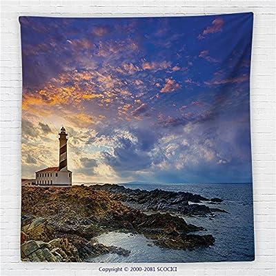 59 x 59 Inches Lighthouse Decor Fleece Throw Blanket Cap de Favaritx Sunset Lighthouse Cape in Mahon at Balearic Islands of Spain Coast Blanket