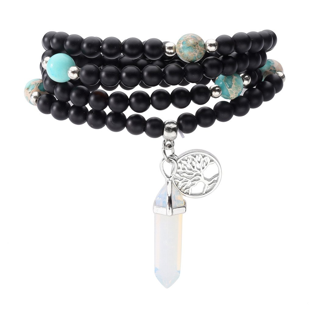 JOVIVI 6mm Matt Schwarz Achat Perlen Armband Buddha Armreif Wickelarmband Halskette mit Lebensbaum Hexagon Säulen Anhänger (Opalite)