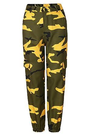 2019 authentique Nouvelles Arrivées Style classique Pantalon Cargo Femme Militaire Taille Haute avec Poche sur Le Côté Mode Hip  Hop Baggy Sweatpants Boyfrind Cigarette Pantalon Imprimé Camouflage de ...