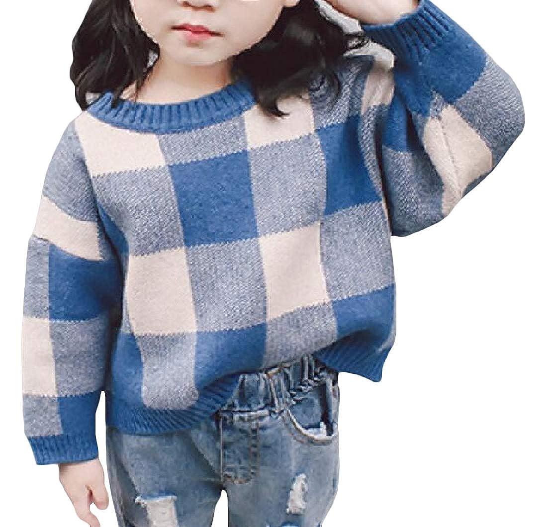 Pandapang Little Toddler Girls Winter Pullover Check Vogue Round Neck Knit Jumper Sweaters