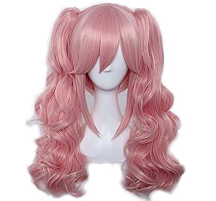 Mesky Peluca Larga Rizada Ondulada de Color Rosa con Dos Trenzas Rizadas Para Chicas Mujeres Wig