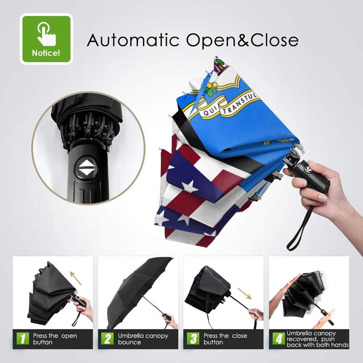 American And Connecticut State Flag Automatic Folding Umbrella Super Sunscreen Rain Portable Creative UV Protection Tri-Fold Umbrella