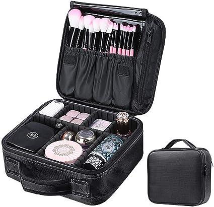 SFGHOUSE - Neceser de viaje con separadores ajustables para mujer, estuche de maquillaje profesional grande para brochas y joyas de tocador: Amazon.es: Belleza