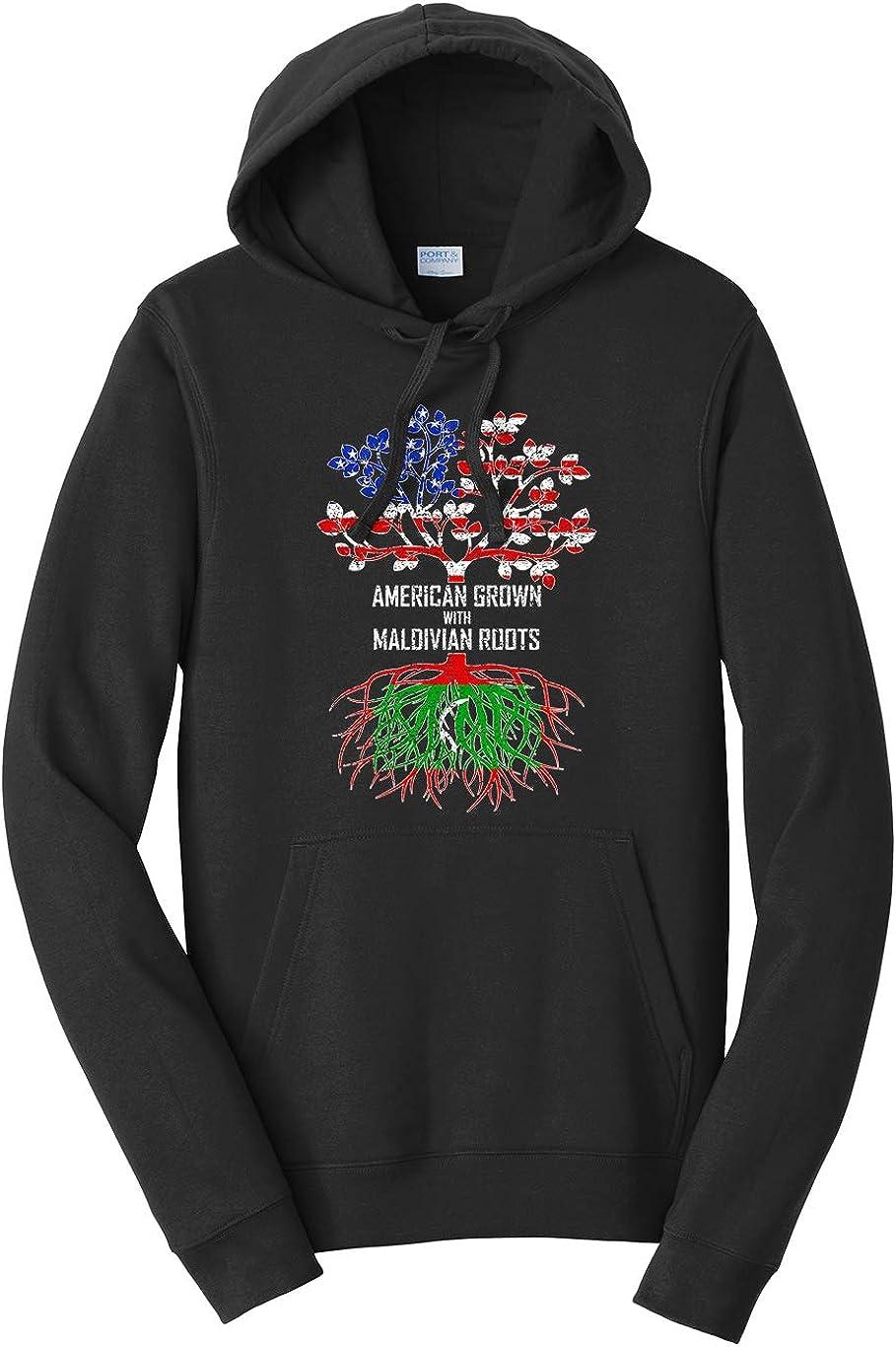 Tenacitee Unisex American Grown with Maldivian Roots Hooded Sweatshirt