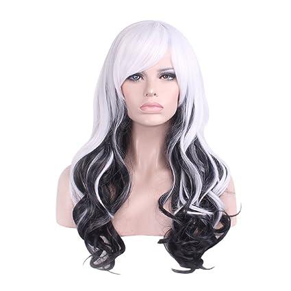Pelucas clifcragrocl, Moda Larga Rizada Grande Negro y Blanco Chica Mujeres Peluca Cosplay Prop -