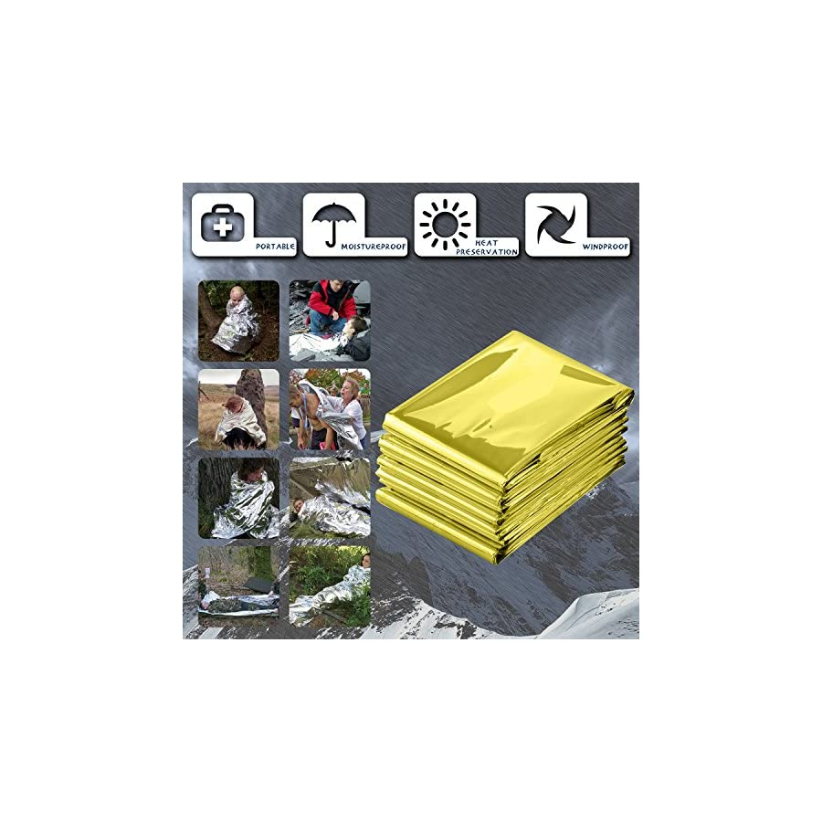 """PAMASE 82"""" x 62"""" Extra Large Emergency Blanket 6, 12 Packs, Survival Space Mylar Thermal Blankets Marathons, Backpacking, Camping, Natural Disaster, First Aid, Bug Out Bag"""