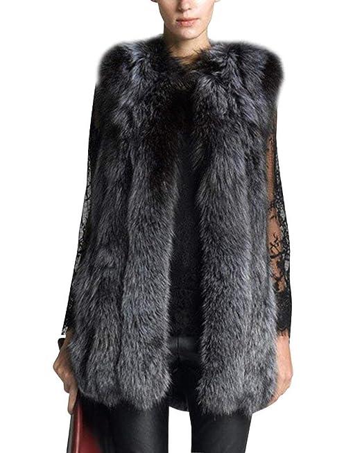 Lanceyy Abrigo De Piel Mujer Invierno Fashion Vintage Piel ...