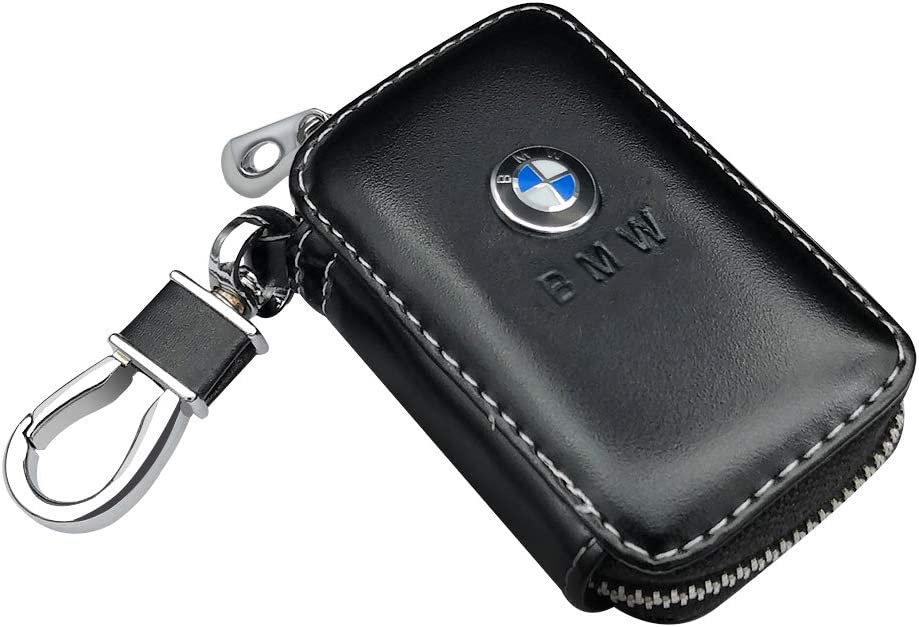 VILLSION Car Key Holder Genuine PU Leather Key Fob Case with Stainless Steel Hook with Metal Zipper Keychain Black